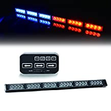 "TURBOSII 24 LED 25.5"" Traffic Advisor Emergency Warning Directional Light Bar Kit Vehicle Strobe Flash Mini Interior LED Dash Light Bar,RED+BLUE"