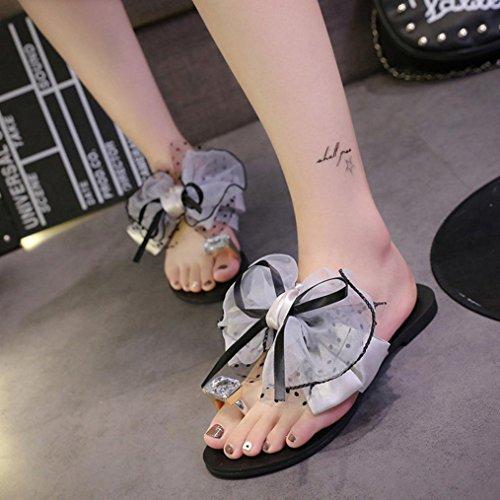 Zapatos De Flores del Deslizador del Heel Sandalias Bohemia Zapatillas Playa Mujeres Zapatos Las Arco Flat De Gris Mujeres Casual Toe Sandalias De Las Las Verano Sandalias ZARLLE 8P1q7xx