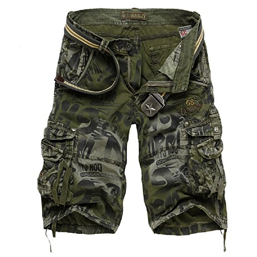 SHDIBA Mens Causal Camoflage Cargo Shorts Cotton Multi Pocket Sports-Wear (36, Army Green) Design Cotton Short