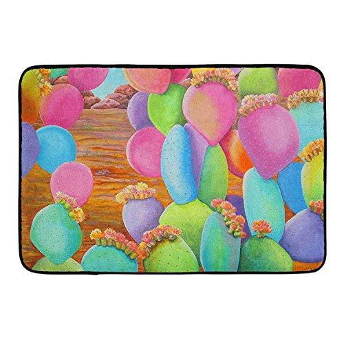 Non-Slip Stain Fade Resistant Bathroom Mat Absorbent Bath Shower Mat for Indoor/Outdoor/Frontdoor/Bedroom/Livingroom/Kitchen Colorful California Prickly Pear CactUS
