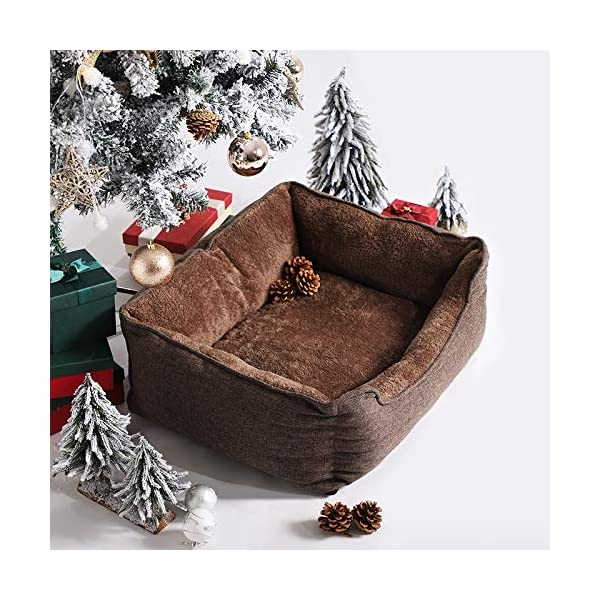 FEANDREA Washable Plush Dog Bed with Removable Cover, Dog Sofa, Brown PGW10CC 5