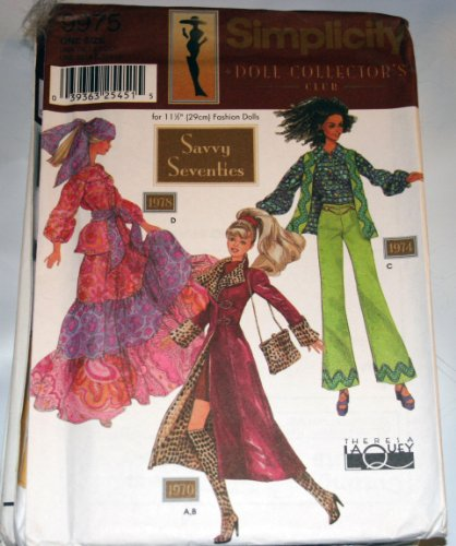 Simplicity 9975 Sewing Pattern - Use to Make Savvy Seventies Clothes for 11 1/2 inch Fashion Dolls - Doll Collector's Club 70s Simplicity Sewing Pattern