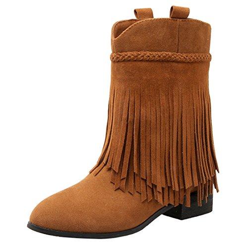 Aiyoumei Donna Tronchetto Slip-on Tacco Basso Autunno Inverno Nappa Ankle Boots Marrone