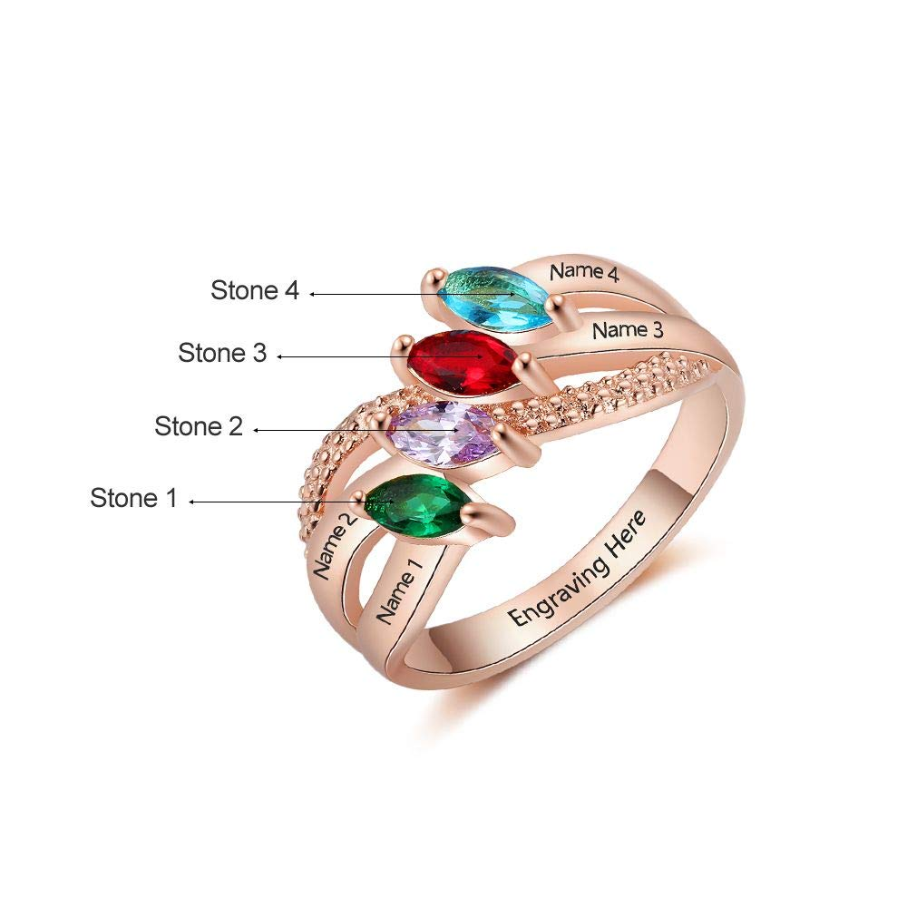 Lam Hub Fong Personalized Sterling Silver Mother Rings with 4 Children Simulated Birthstones for Women Promise Rings for Her BFF Rings Engraved Name Rings Mothers Day Rings for Mom