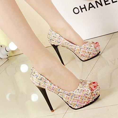 Match sottili scarpe SFSYDDY superficiale bocca Apricot singola donna tacco tacco fine color pesce super color 12 scarpa Singles nbsp;cm piattaforma da tacco bocca alto scarpa impermeabile HRBrxHz