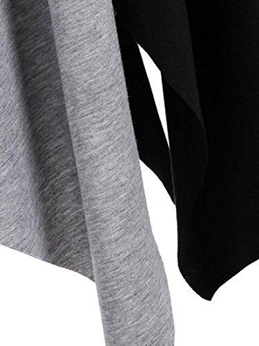 Femmes Manches Coolred Taille Plus Asymétrique Épissures Longue Robes De Couleur Gris Sort
