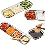4 Pcs Dipping Sauce Dish Set, Stainless Steel Condiment Dishes, Sub-Grid Seasoning Dishes, Appetizer Snacks Bowl for Home Kitchen BBQ Restaurant