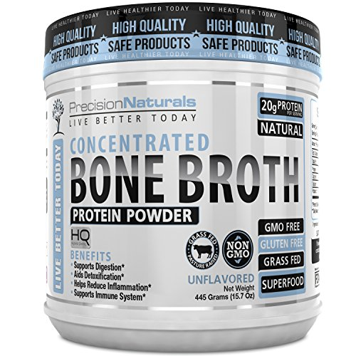 Bone Broth Protein Powder - Certified Paleo Friendly - Natural NON GMO Grass Fed Beef - Gluten Free Unflavored Ancient Form of Nutrition Made Modern 445g/15.7oz 20 Servings. Collagen Peptides