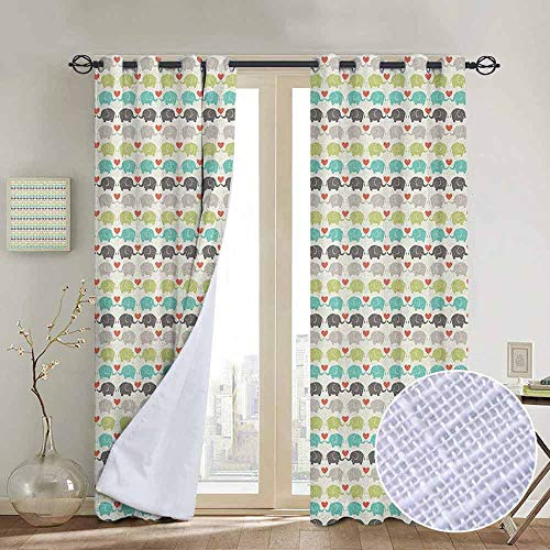 - NUOMANAN Light Blocking Curtains Baby,Elephants in Love Valentines Hearts Adorable Silhouettes Little Trunks Adoration, Multicolor,for Bedroom, Kitchen, Living Room 84