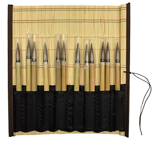Jack Richeson Bamboo Brush Mat with Pro Art #4 Bamboo Brushes (12) by Arnie's Arts 'N' Crafts
