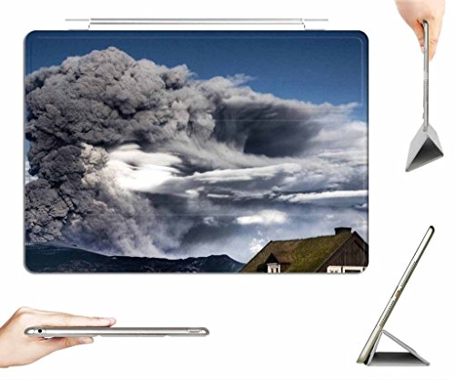 Ipad Air Case   Transparent Back Cover   Eyjafjallajokull Volcano Eruption In Iceland    Auto Wake Sleep Function   Ultra Slim   Light Weight