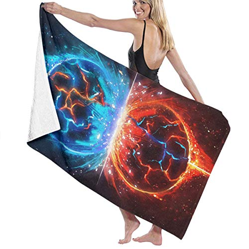 Cooby Roman Microfiber Quick Dry Super Absorbent Bath Towel - Space Planets Collision Graphics Beach Towels for Adults, Swim, Water Sports, SPA and Beach Holidays