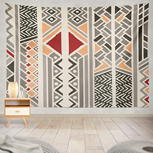 - ASOCO Tapestry Wall Handing Tribal Ethnic Colorful Bohemian Pattern with Geometric Elements African Mud Cloth Tribal Design Wall Tapestry for Bedroom Living Room Tablecloth Dorm 60X80 Inches
