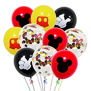 40 Pack Mouse Balloons, 12 Inch Latex Balloons Red Black Yellow Color Confetti Balloons Kit for Baby Bbay Party Baby Shower Mouse Theme Party Supplies