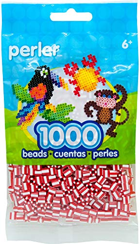 Perler Beads Fuse Beads for Crafts, 1000pcs, Striped Cinnamon Red and White -