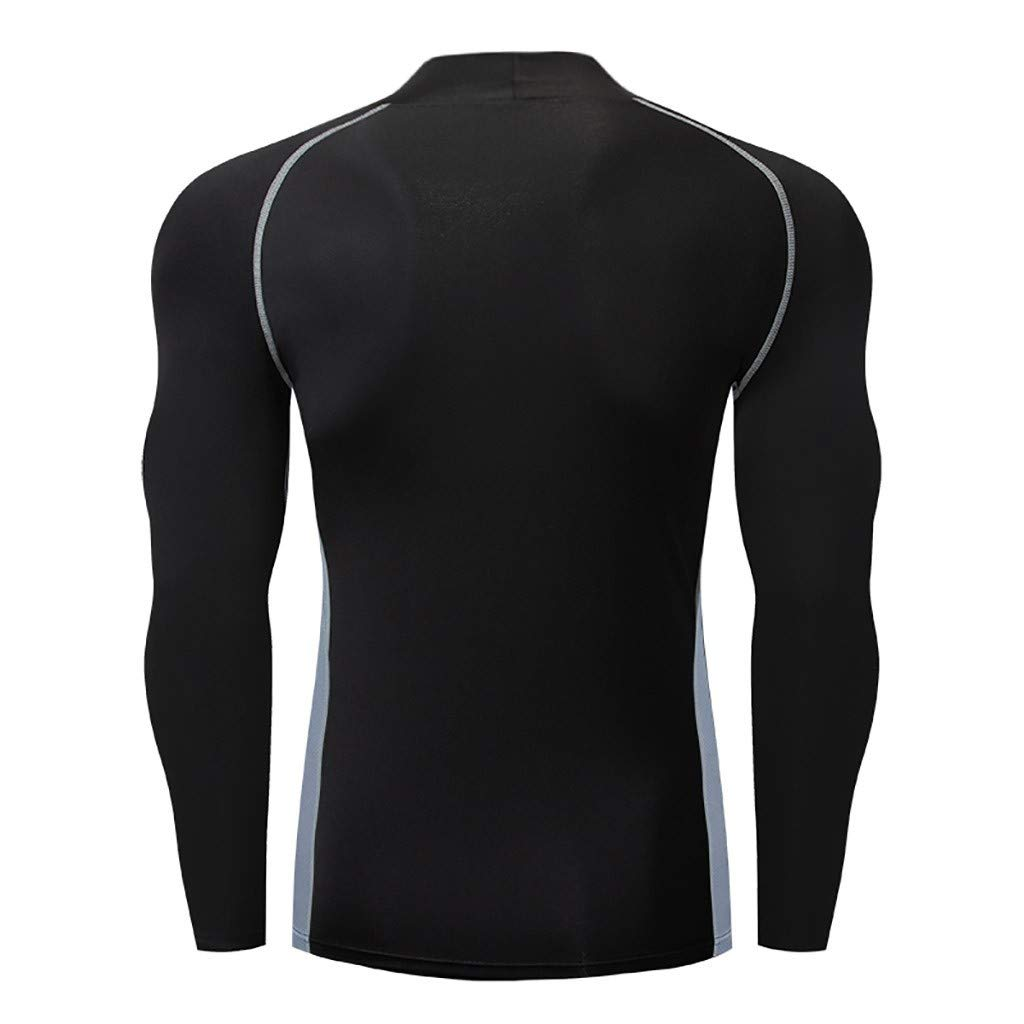 SANFASHION 2019 Exercice T-Shirt Doux Fitness Col Ronde Manches Longues Hommes Formation Sport Basique Yoga Tops Shirt Slim Fit Couture Rayures Noir