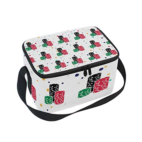 """Lunch Bag Poker Roulette Chips, Large Insulated Bento Cooler Box with Black Shoulder Strap for Men Women Kids, BaLin 10"""" x 7"""" x 6"""""""