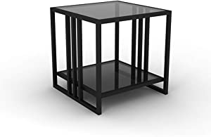 YGCBL Office Desk,Decorative Table,Tempered Glass Coffee Table, Iron Square Sofa Side Table