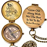 """grow old along with me engraved compass with norman rockwell""""sunset"""" engraving, valentine gift, anniversary gift, birthday, long distance, love, Sorry, Keepsakes, old memories, Love momentos"""
