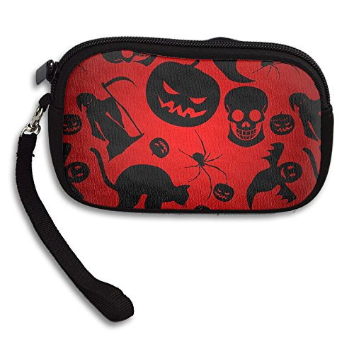 ZGZGZ Women Girls Dark Halloween Holiday Small Wallet Coins Wallet With Zipper -
