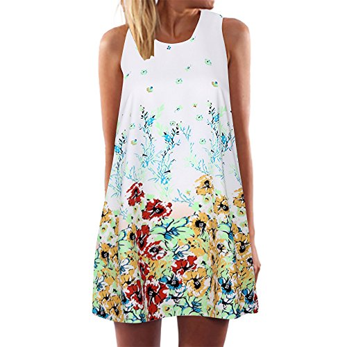 FORUU Womens Girls Vintage Boho Summer Sleeveless Beach Printed Short Mini Dress (XL, White)