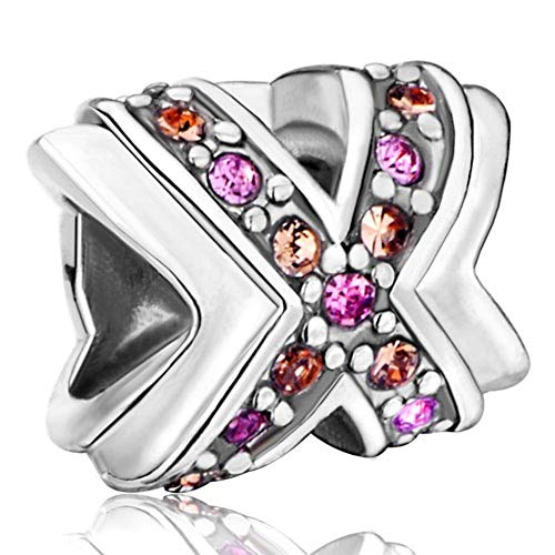 Charm Love Hugs Kisses Bead Fits Pandora Bracelets with XO In CZ Crystals