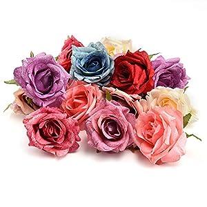 fake flowers heads in Bulk Wholesale Silk Flower Dahlia Rose Artificial Flower Head Wedding Decoration DIY Wreath Gift Box Scrapbooking Craft Fake Flower 7pcs 7CM(Multicolor) 20