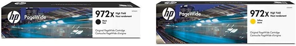 HP 972X | PageWide Cartridge High Yield | Black Noir| F6T84AN & 972X | PageWide Cartridge High Yield | Yellow | L0S04AN