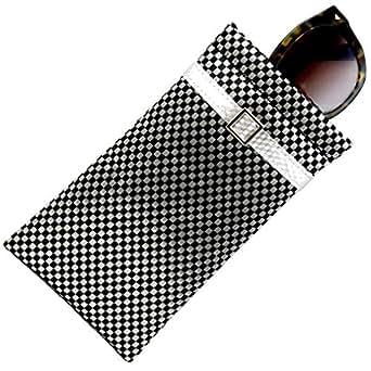 MyEyeglassCase Checkered Soft Sunglasses Case Soft Eyeglass Case Squeeze Top Xl Eyeglass Case With Cleaning Cloth, Medium To Oversized Frames Glasses Case, Smart Phone Case (Ct8 Black Cosmopolitan)