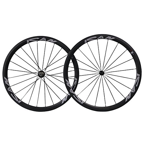 ICAN 700C Carbon Road Bike Wheelset Clincher 38mm Deep 25mm Wide Rim Shimano or Sram 10/11 Speed Only 1493g (38 Mm Carbon)