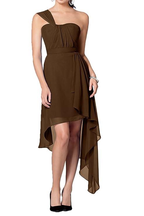 La_mia Braut Einfach Breit Ein-schulter Chiffon Hi-lo Abendkleider  Partykleider Promkleider A-linie Neuheit: Amazon.de: Bekleidung