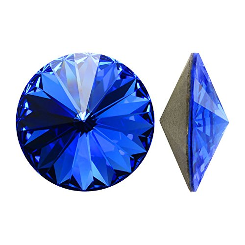(Swarovski Crystal, #1122 Rivoli Fancy Stones 14mm, 2 Pieces, Sapphire Sf)