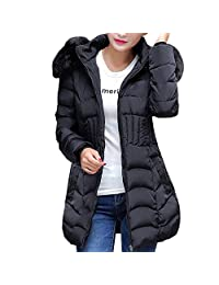 Sumen Women Down Winter Jacket Long Coat Parka Overcoat Hooded Casual Trench