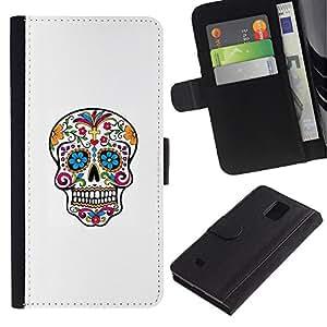 KLONGSHOP // Tirón de la caja Cartera de cuero con ranuras para tarjetas - Cráneo del azúcar de colorido - Samsung Galaxy Note 4 IV //