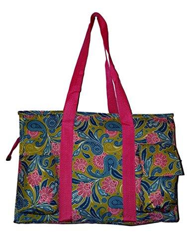 Fashion Print Zip Top Organizing Beach Bag Tote Diaper Bag WeekenderCan Be Personalized or Monogrammed (Green Paisley-1501) (Paisley Print Tote)