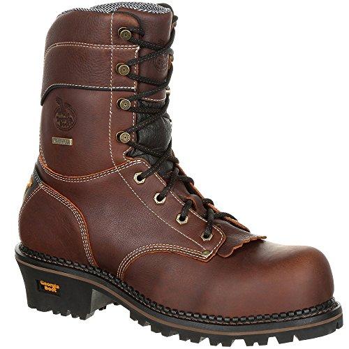 Full Grain Leather Boots - Georgia Men's AMP LT Logger Composite Toe Waterproof Work Boots, Brown, SPR Full-Grain Leather, Rubber, 11 M
