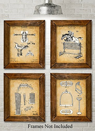 Original Equestrian Patent Prints - Set of Four Photos (8x10) Unframed - Great Gift for Horse Lovers (Reproduction Antique Prints)