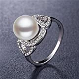 Gorgeous Women 925 Silver Jewelry Round Cut White Pearl Wedding Ring Size 6-10#by pimchanok shop (9)