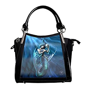 Sailors Ruin'Blue Mermaid Large Hand Bag Black PVC Goth