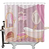 JLBB Teen Girls Decor Collection, Fancy Bathroom in The Palace of The Princess with Bathtub Cabinet Mirror Image Print, Polyester Fabric Bathroom Shower Curtain Set with Hooks, 66Wx72L in Pink Beige