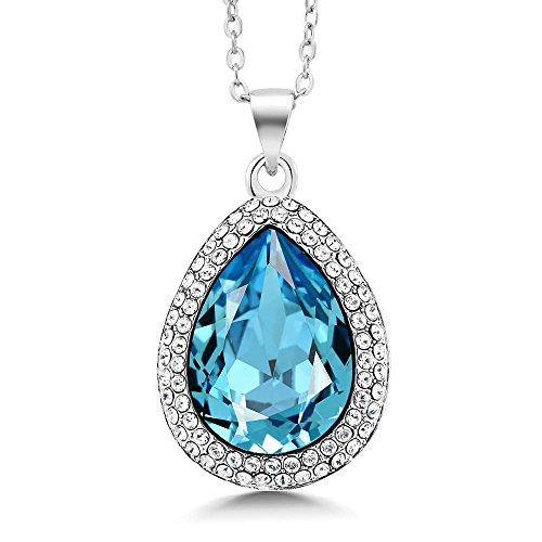 (Gem Stone King Rhodium Plated Pear Shape Pendant Made with Swarovski Crystals)