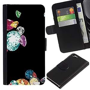 EJOY---La carpeta del tirón la caja de cuero de alta calidad de la PU Caso protector / Apple Iphone 6 / --Diamantes Bling Negro Brillante Dinero
