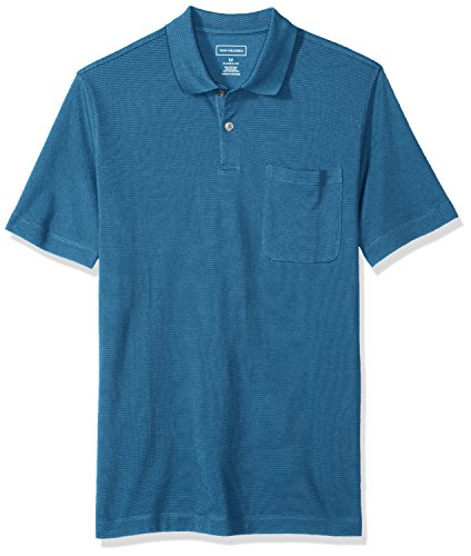 (Van Heusen Men's Short Sleeve Jacquard Stripe Polo Shirt, Tundra, Large)