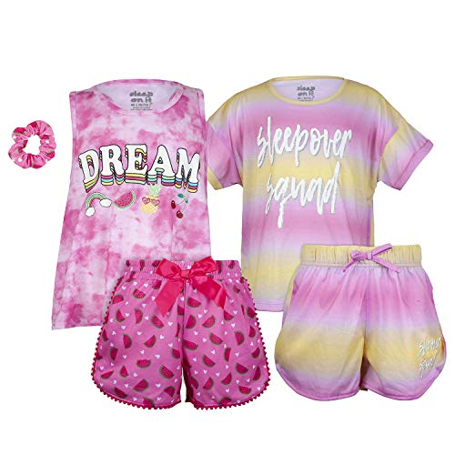 Sleep On It Girls 4 Piece Summer Pajama Tank Top and Short Sleeve Shorts Set (2 Full Sets)