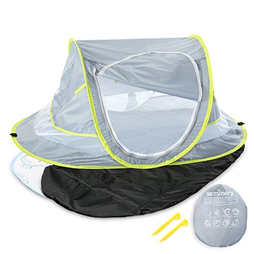 Large Baby Portable Beach Play Tent Provide UPF 50+ Sun Shelter,Baby Travel Bed With Sleeping Pad,Cooling Mat And 2 Pegs,Lightweight Pop Up baby Mosquito Net By Summery