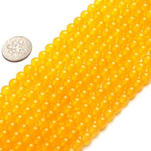 6mm Round Gemstone Yellow Jade Beads Strand 15 InchJewelry Making Beads