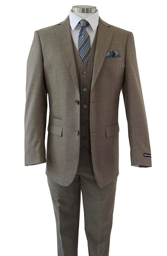 Lilis® Men's Sharkskin 3 Piece Suit 2 Buttons Jacket Formal Business Wear LL18092102