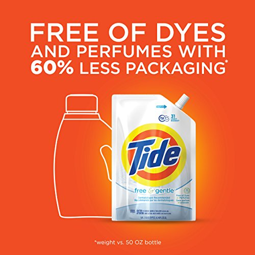 Review Tide Liquid Laundry Detergent Smart Pouch, Free & Gentle HE, Pack of three 48 oz. pouches, 93 loads