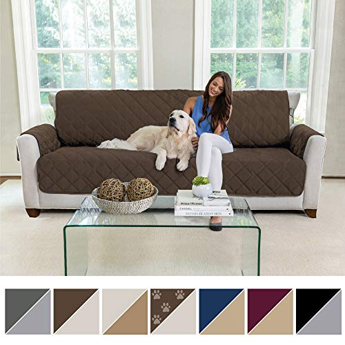(MIGHTY MONKEY Premium Reversible Sofa Slipcover, Seat Width to 78 Inch Furniture Protector, 2 Inch Elastic Strap, Washable Couch Slip Cover, Protect from Kids, Dogs, Oversized Sofa: Chocolate Taupe)