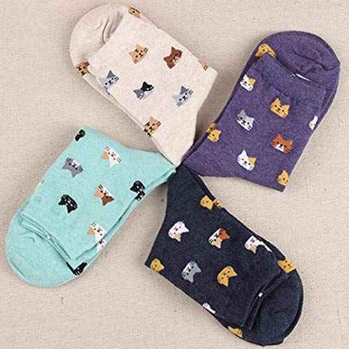 Autumn Women Socks Cartoon Animal Cute Cat Sock for Girls Winter Thick Warm Cotton Sock for Ladies Christmas Gifts (red)